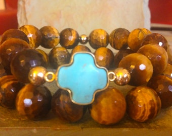 Turquoise cross link connector with 16mm tiger eye beads set