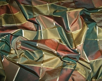 ZIMMER & ROHDE MAYFAIR Silk Taffeta Check Fabric 10 yards Magenta Olive Gold