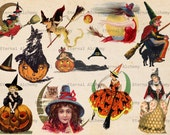 Vintage Halloween Images - Witches -Set 2 - 10 (plus 2) Clipart/Digital Images - Instant download