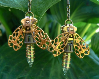 Steampunk Firefly Earrings - Christmas Earrings - Zipper Earrings - Dangle Earrings - Steampunk Jewelry