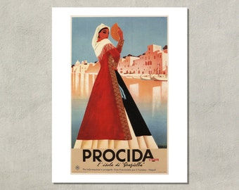 Graziella Procida Napoli Italian Travel Poster - 8.5x11 Poster Print - also available in 13x19 - see listing details