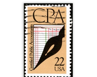 """Vintage Reprint Accountant Stamp - CPA 11"""" x 17"""" - FREE Shipping (Contl US)"""