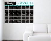 Large Personalized Chalkboard Wall Calendar
