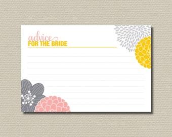 Bridal Shower Advice Cards - Modern flower design, yellow pink & grey (PP03)
