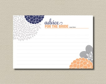 Bridal Shower Advice Cards - Modern flower design// Navy // Peach // Grey (PP30)