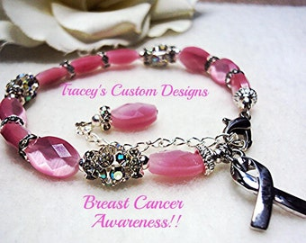 Stunning BREAST CANCER AWARENESS Bracelet - Custom made designs.