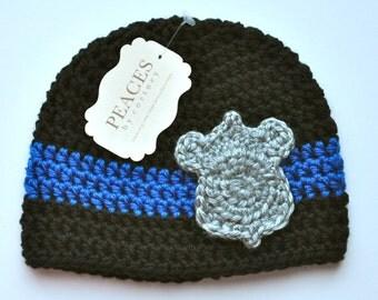 Police Baby Hat -  Police Officer Baby Hat with Silver Badge (newborn gift  preemie hat newborn costume babyshower newborn beanie)