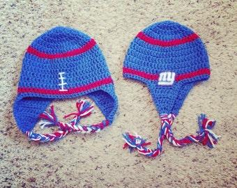 New York Giants Ear Flap Crochet Hat Made to Order