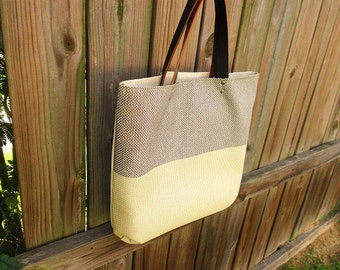 Stylish Color Block Fabric Tote Bag  W/ Brown Leather Straps / Water Resistant