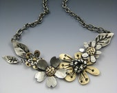 Flower Necklace, Mixed Metal Flower Necklace, Flower Jewelry RP0464