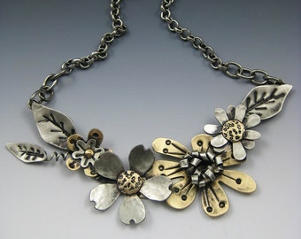 Flower Necklace, Mixed Metal Flower Necklace, Flower Jewelry, Flower Spray Necklace, Silver and Gold Flower Necklace,Flower Pendant,RP0464NK