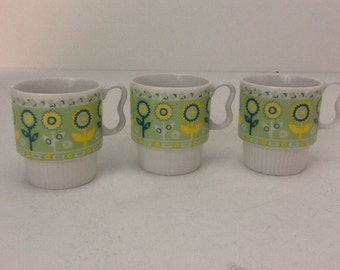 Vintage Sunflower Coffee Mugs Green and Yellow Set of Three