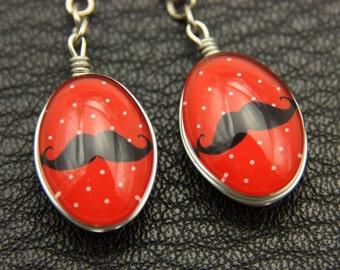 Earrings mustache Double sided cabochon (1318B)