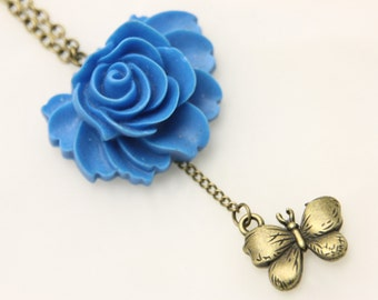 Necklace blue flower and butterfly