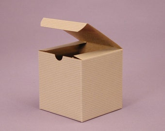 Mini Pinstripe Kraft Gift Boxes 3 x 3 x 3 - Set of 25