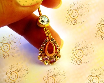 SALE-Belly Ring, Neoglory 14 KG Rose Gold Crystal open Teardrop, Belly Button Jewelry, For Women and Teens, For Women and Teens