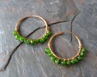 Chrome Diopside Wrapped Gold Hoops, Emerald Green Gemstone Earrings, Handmade