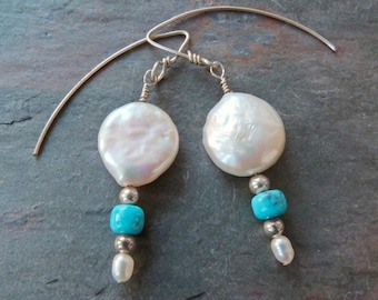 White Coin Pearl Dangle Earrings w Genuine Turquoise & Sterling Silver, Bright Blue, Handmade