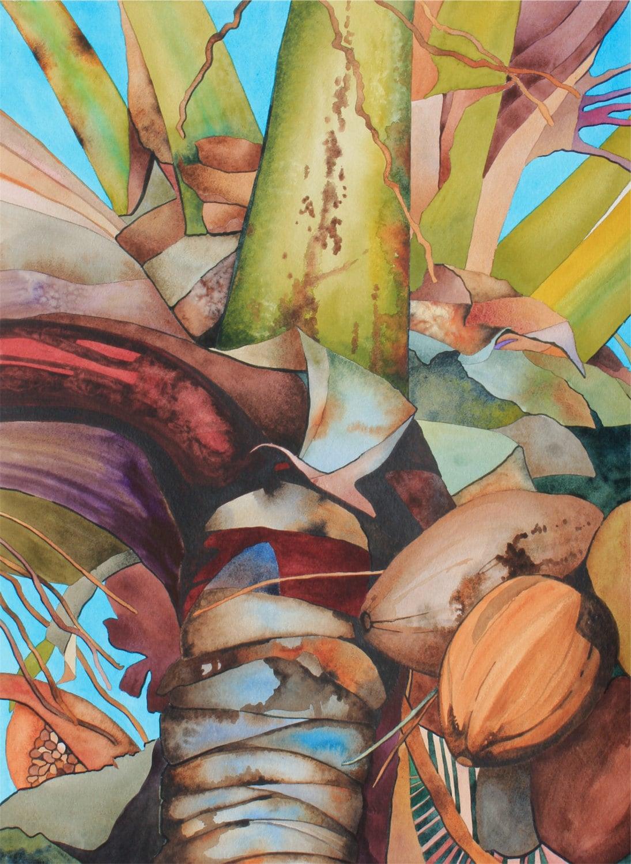 Art original watercolor painting hawaiian coconut for Peinture mural original