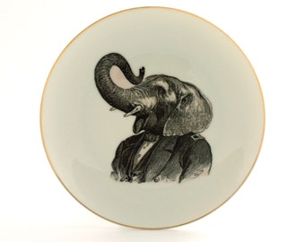 """Altered Porcelain Vintage Plate Elephant Human Clothes 7.67"""" Anthropomorphic Art Surrealism Wall Decoration Animal Jungle Geekery Whimsical"""