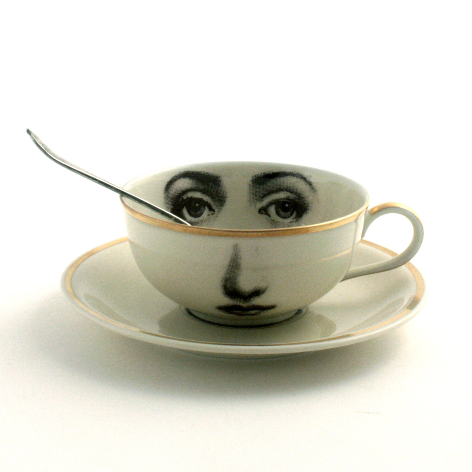 Altered Porcelain Eye Cup Tea Coffee Saucer Woman Face Vintage