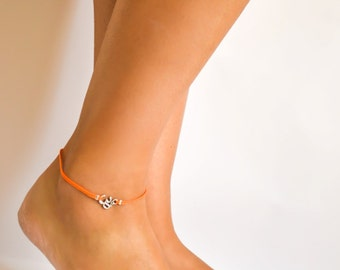 Om anklet, orange cord anklet, silver Om charm, ankle bracelet, christmas gift, minimalist jewelry, beach, yoga, hindu, summer, beach