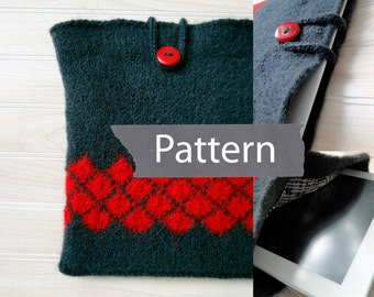PDF PATTERN Instant Download Felted Tablet Cover pattern, felted ipad cover pattern, felted argyle table cover pattern