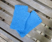 Crocheted Fingerless Gloves - Teal