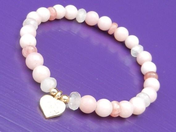 Heart Mending Bracelet in Pink Opal, Rhodochrosite & Rose Quartz with Vermeil Lotus Charm, Reiki Infused