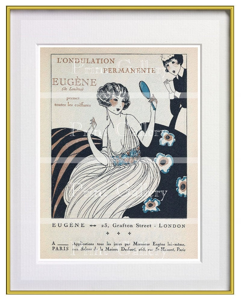 art deco print ads french hair salon by kidzroomprints on etsy. Black Bedroom Furniture Sets. Home Design Ideas