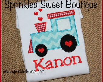 Valentines Day Love Train Custom Monogram Applique Shirt Boys Girls First Valentines Day Shirt