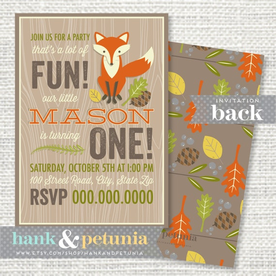 Woodland Or Red Fox Birthday Party Invitation By
