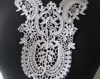 Venise Lace Applique, Lace, Appliques, Guipure Applique, White Scroll Floral Rayon Patch, Venise Lace, Bridal Applique (G33-484)