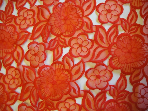 Red lace organza embroidered d daisy flower