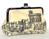Cotton Clutch - Windsor Castle in Black and Ivory Toile, Black Floral Lining, Gunmetal Kisslock Frame