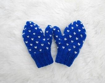 Toddler Thrummed Mittens 1-2 years, Royal Blue
