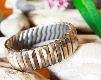 Vintage Stretch Bracelet, Silver Toned Metal