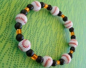 Baseball, Baseball, Baseball SF Giants Fan Bracelet Orange Glass and Black Stone