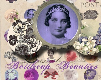 Bottlecap Beauties - 1 Inch Circle Images - Vintage Floral Images - Women and Children - Flower Images