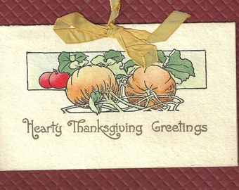 Antique Thanksgiving Greeting Card - c. 1910 Hand Colored Pumpkins - Vintage Multi layer card - silk ribbon