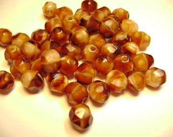 Czech Fire Polish Glass Beads 6mm Round Pearl Brown - 25 Count