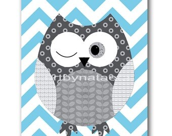 Owl Decor Owl Nursery Baby Nursery Decor Baby Boy Nursery Kids Wall Art Kids Art Baby Room Decor Nursery Prints Owl Blue Gray Baby Art