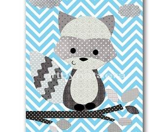 Raccoon Nursery Kids Wall Art Kids Art Baby Nursery Decor Baby Boy Nursery Baby Room Decor Nursery Print Boy Print Blue Gray