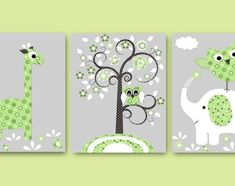 Baby Boy Nursery Kids Wall Art Baby Nursery Decor Baby Room Decor Kids Art Boy Print Elephant Nursery Giraffe Nursery set of 3 owl gray