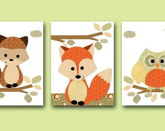 Baby Nursery Decor Baby Boy Nursery Kids Wall Art Kids Art Baby Room Decor Nursery Print Owl Nursery Fox Nursery set of 3 Orange Raccoon