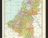Vintage Map of Netherlands From 1935 Original