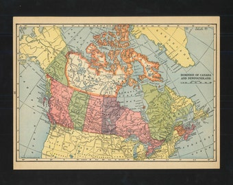Vintage Map Canada From 1943 Original
