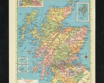 Vintage Map Scotland From 1953 Original