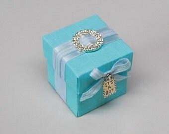 Baby Shower Blue Favor Box with rhinestone buckle