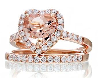 14K Rose Gold Morganite Ring Heart Shape Cut Dainty Morganite Diamond Heart Halo Solitaire Engagement Anniversary Ring